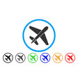 jet airplane rounded icon vector image vector image