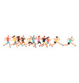 jogging people runners group in motion running vector image vector image