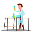 laboratory technician guy growing medicinal vector image
