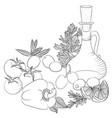 line art olive oil and vegetables vector image vector image