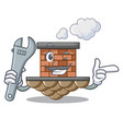 mechanic brick chimney next the cartoon roof vector image