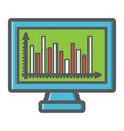 Monitor chart colorful line icon business graph