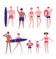 people at beach flat isolated icons vector image vector image