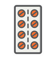 pills strip filled outline icon medicine vector image vector image