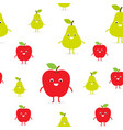 seamless pattern with funny happy apples and pears vector image