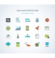 seo and data protection icons vector image vector image