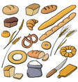 set bread and bakery vector image