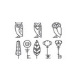 set of 8 decor elements owls keys and leaves vector image