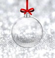 Silver christmas background with glass ball vector image vector image