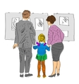sketch of family standing in gallery vector image vector image