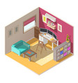 small home office isometric interior vector image vector image