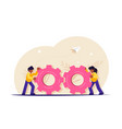 teamwork with gears business management and vector image vector image