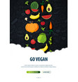 vegetarian banner hand-draw doodle background vector image