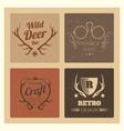 Vintage hipster labels set trendy grunge logo