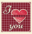 vintage valentines day wedding card i love you vector image vector image