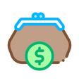 wallet coin money icon outline vector image vector image