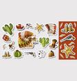 western wild west art stickers set gun bullets vector image
