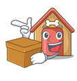 with box cartoon dog house and bone isolated vector image vector image