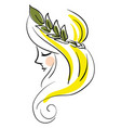 woman wearing leaf profile basic rgb on white vector image
