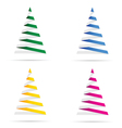 christmas tree set in colorful vector image