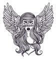scandinavian goddess valkyrie with wings zombie vector image