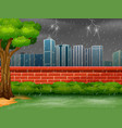 background city scene with thunderstorm and light