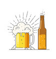 beer mug with foam and bottle vector image vector image