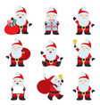 big collection christmas santa claus poses vector image vector image