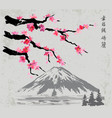 branches and fujiyama mountain vector image vector image