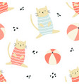 bright seamless pattern with funny summer cats vector image vector image