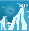 businessman jump between 2018 and 2019 years on vector image vector image