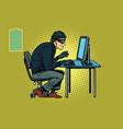 caucasian hacker thief hacking into a computer vector image vector image