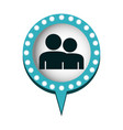couple in circular speech with blue contour with vector image