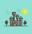dark castle with moonlight flat design vector image