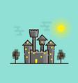 dark castle with moonlight flat design vector image vector image