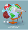 educational astronomy banner with earth globe vector image