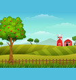 farm landscape with shed and windmill vector image vector image