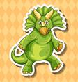 Green dinosaur on orange background vector image vector image