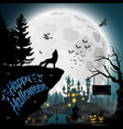 halloween night background with roaring wolves vector image vector image