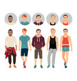 handsome guys in casual fitness style vector image vector image