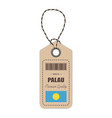 hang tag made in palau with flag icon isolated on vector image vector image
