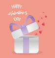 happy valentines day gift box coming out hearts vector image