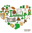 Heart shape concept of Irish symbols vector image vector image