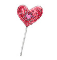 heart shaped lollipop hand vector image vector image