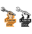 hold wrench labor day badge vector image vector image