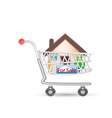 house in shopping cart vector image