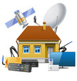 house with satellite equipment vector image vector image