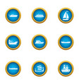 jetliner icons set flat style vector image