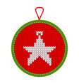knitted christmas decoration star five vector image vector image