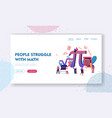 math science landing page template tiny students vector image vector image